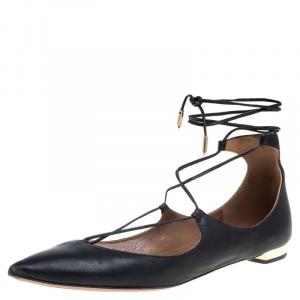 Aquazzura Black Leather Christy Flat Sandals Size 38.5 - used