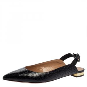 Aquazurra Black Croc Embossed Leather Slingback Sandals Size 40 - used