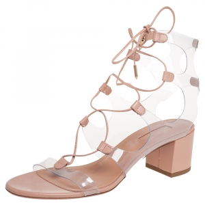 Aquazzura Beige Leather And PVC Lace Up Sandals Size 38