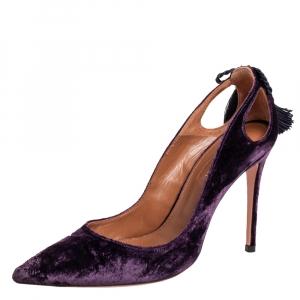 Aquazzura Purple Velvet Forever Marilyn Pointed Toe Pumps Size 37.5