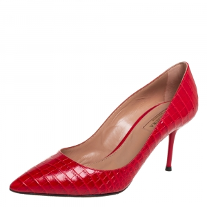 Aquazurra Red Croc-Embossed Leather Purist Pumps Size 35.5