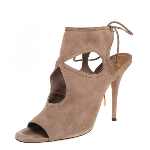 Aquazzura Beige Suede Sexy Thing Cutout Sandals Size 40.5 - used