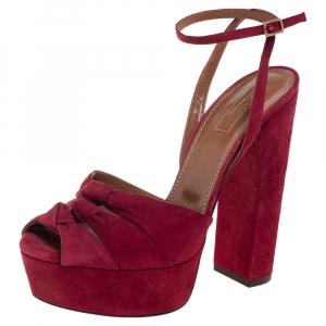 Aquazzura Burgundy Suede Mira Block Heel Platform Sandals Size 39 - used
