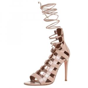 Aquazzura Beige Leather Amazon Lace Up Open Toe Sandals Size 37.5 - used