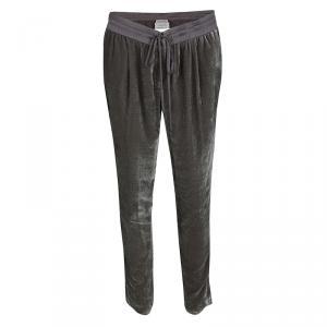 Armani Collezioni Grey Burnout Striped Velvet Drawstring Detail Pants M
