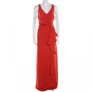 Armani Collezioni Red Ruched Sleeveless Maxi Dress L