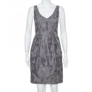 Armani Collezioni Grey Floral Embroidered Pleated Organza Dress M