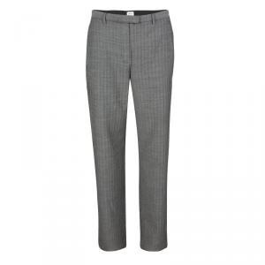 Armani Collezioni Monochrome Herringbone Weave Tailored Wool Trousers M