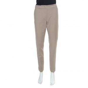 Armani Collezioni Beige Cuffed Hem Tailored Trousers M