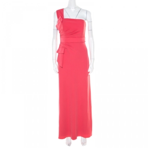 Armani Collezioni Salamander Pink Crepe Pleated Bow Trim One Shoulder Evening Gown M used