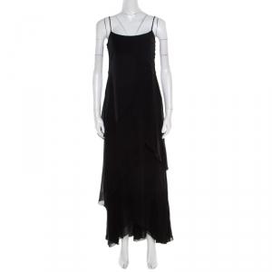 Armani Collezioni Black Draped Sleeveless Maxi Dress S - used