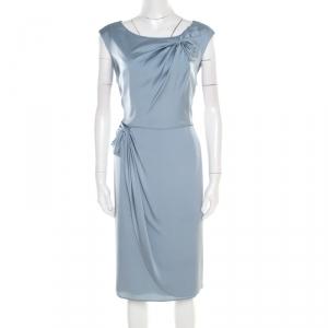 Armani Collezioni Grey Silk Draped Bow Detail Faux Wrap Sleeveless Dress XL - used