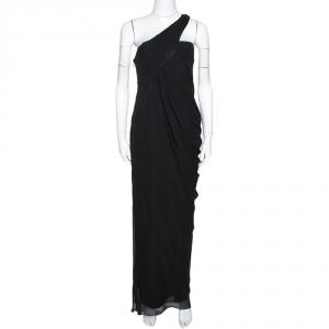 Armani Collezioni Black Silk Draped One Shoulder Asymmetric Gown M - used