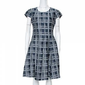 Armani Collezioni Navy Blue Checked Linen & Cotton Flared Dress M - used