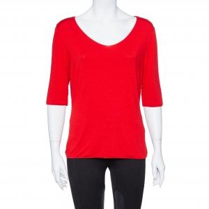 Armani Collezioni Red Cotton Jersey V Neck T-shirt L - used