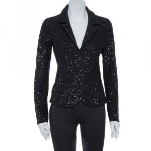 Armani Collezioni Black Wool Sequin Embellished Knit Blazer M