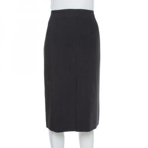 Armani Collezioni Black Wool Crepe Pencil Skirt L