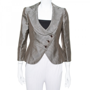 Armani Collezioni Metallic Plaided Silk Asymmetric Cropped Blazer M