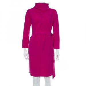 Armani Collezioni Purple Crepe Belted Oversized Dress M - used
