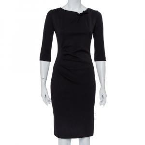 Armani Collezioni Black Knit Draped Waist Detail Sheath Dress S - used