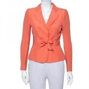 Armani Collezioni Coral Pink Linen & Silk Front Tie Detail Blazer S