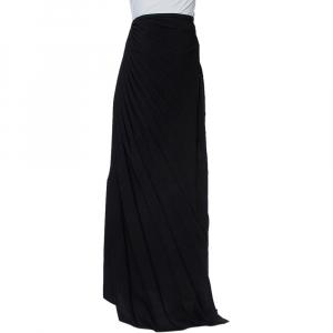 Armani Collezioni Black Crepe Ruffle Detail Pleated Maxi Skirt L