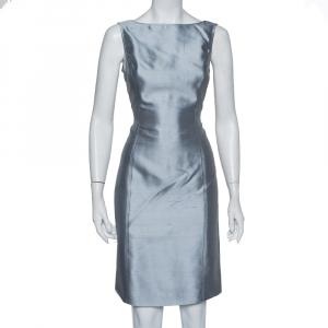 Armani Collezioni Grey Silk & Wool Sleeveless Sheath Dress M - used