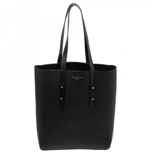 Aspinal of London Black Leather Essential Shopper Tote