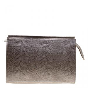 Aspinal Of London Grey Glossy Lizard Print Leather Medium Cosmetic Pouch