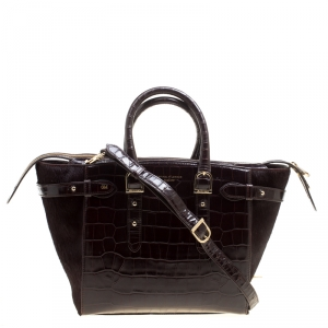 Aspinal of London Dark Brown Croc Embossed Leather Marylebone Top Handle Bag