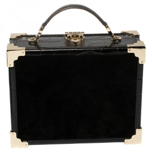 Aspinal of London Black Croc Emboosed Leather and Velvet Trinket Top Handle Bag