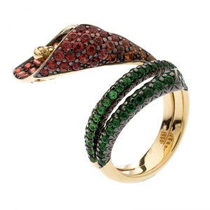 Asprey Lily Multicolor Gemstone 18k Yellow Gold Cocktail Ring Size 52