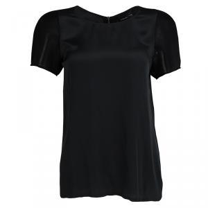 Atos Lombardini Black Tricot Mesh Short Sleeve Detail Top M