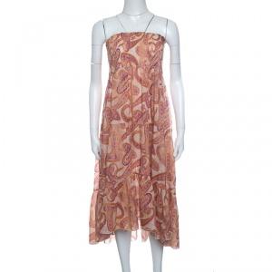 Atos Lombardini Multicolor Paisley Print Smocked Hem Strapless Dress M