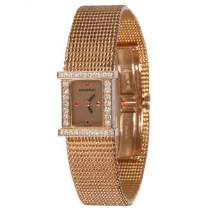 Audemars Piguet Champagne Diamonds 18K Rose Gold Charleston Charleston Women's Wristwatch 16 x 6 MM