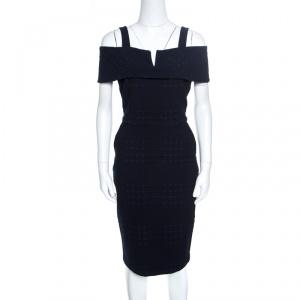 Badgley Mischka Navy Blue and Black Jacquard Knit Cold Shoulder Dress M