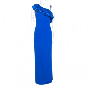 Badgley Mischka Blue Crepe Ruffle Detail One Shoulder Evening Gown L