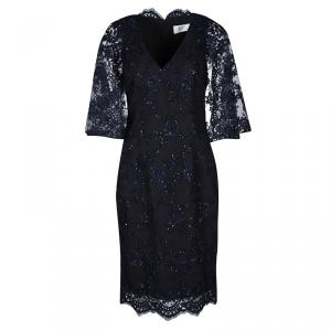 Badgley Mischka Navy Blue Sequined Lace Cape Sheath Cocktail Dress S
