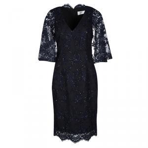فستان كوكتيل بادجلي ميشكا أزرق كحلي دانتيل وترتر واسع S