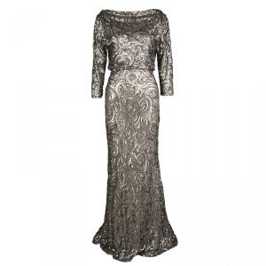 Badgley Mischka Collection Dull Gold Sequin Embellished Cowl Neck Blouson Gown S