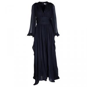 Badgley Mischka Navy Blue Silk Draped Embellished Cuff Detail Gown S