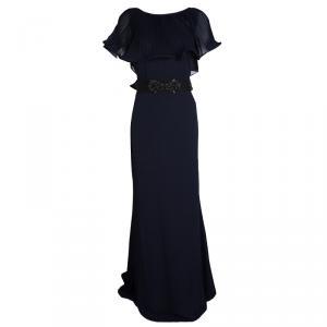 Badgley Mischka Navy Blue Plisse Ruffle Detail Embellished Maxi Dress M