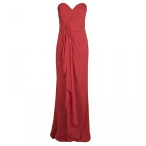 Badgley Mischka Red Ruched Draped Silk Strapless Maxi Dress M