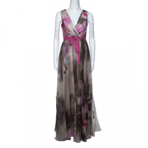 Badgley Mischka Collection Floral Printed Organza Contrast Belted Ball Gown S