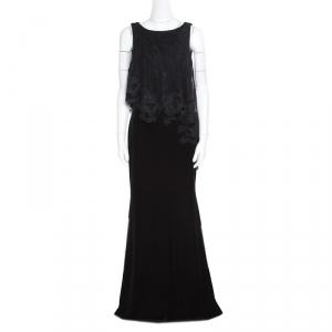 Badgley Mischka Black Velvet Floral Applique Lace Popover Gown M