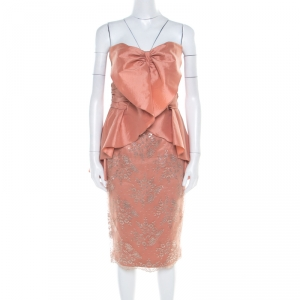 Badgley Mischka Collection Copper Metallic Lace Overlay Strapless Kimono Dress L used