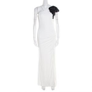Badgley Mischka Collection White Ruched Knit Contrast Embellished One Shoulder Gown L used