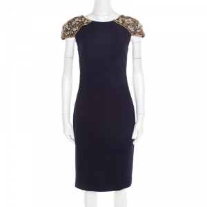 Badgley Mischka Collection Navy Blue Embellished Cap Sleeve Cocktail Dress M