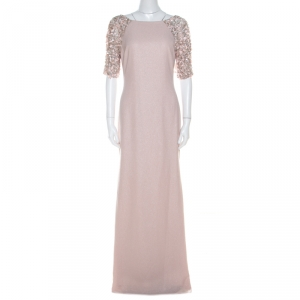 Badgley Mischka Collection Pale Pink Textured Crepe Sequin Embellished Gown M