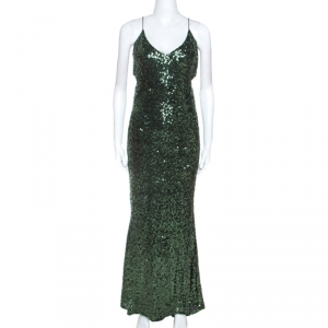 Badgley Mischka Emerald Green Sequinned Gown L used